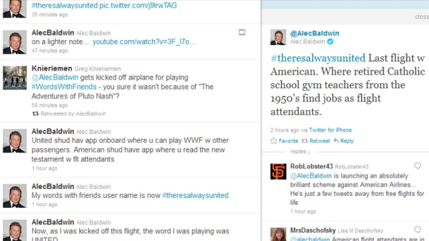 Alec Baldwin tweets about getting kicked off a flight on Tuesday, Dec. 6, 2011.