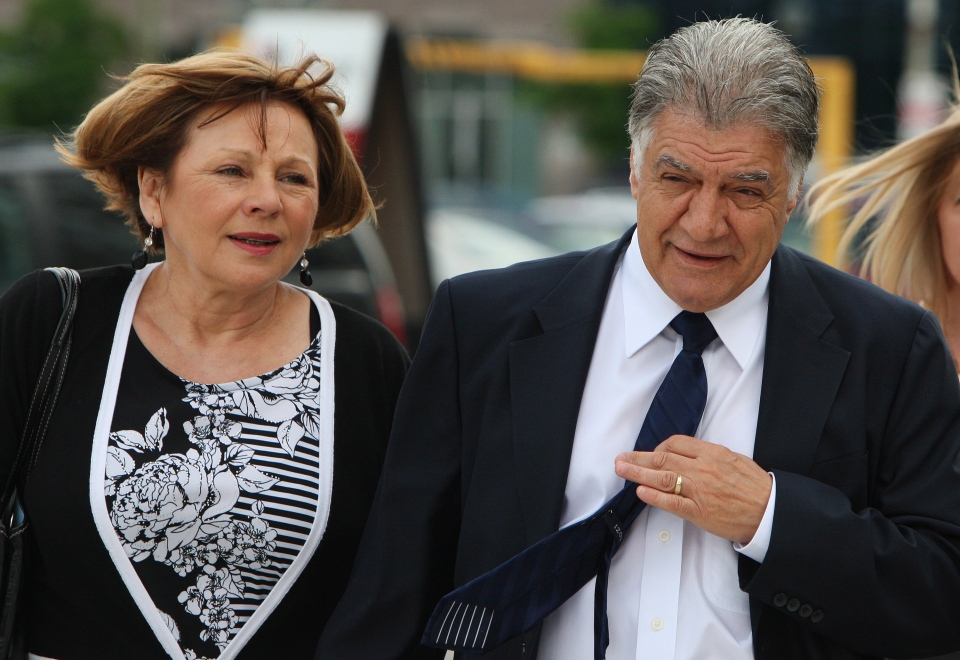 London, Ont. Mayor Joe Fontana walks with his wife Vicky to the London, Ont., courthouse to hear the verdict in his fraud trial Friday, June 13, 2014. (Dave Chidley / THE CANADIAN PRESS)