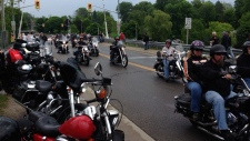 Motorcycle riders arrive in Port Dover