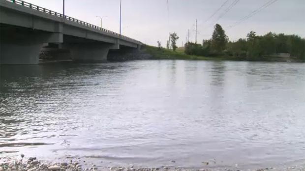 The Bow River flows under the 17 Ave. S.E. bridge