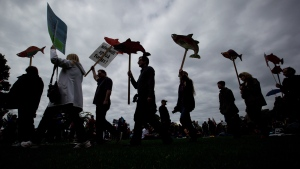 Protesters are silhouetted while carrying cutouts of salmon during a demonstration against the Enbridge Northern Gateway Pipeline in Vancouver, B.C., on Saturday May 10, 2014. (Darryl Dyck / THE CANADIAN PRESS)