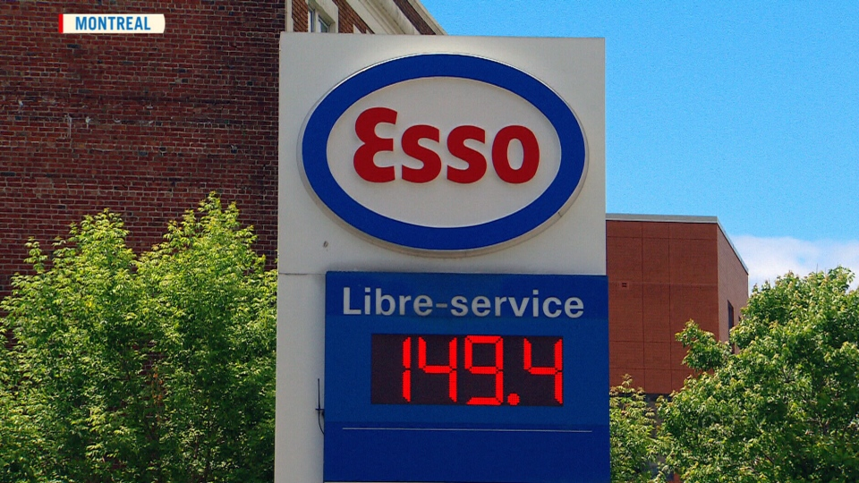 The price of gas is displayed at a gas station in Montreal, Saturday, June 14, 2014.