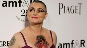Sinead O'Connor arrives at amfAR's Inspiration Gala in Los Angeles, Thursday, Oct. 27, 2011. (AP / Matt Sayles)