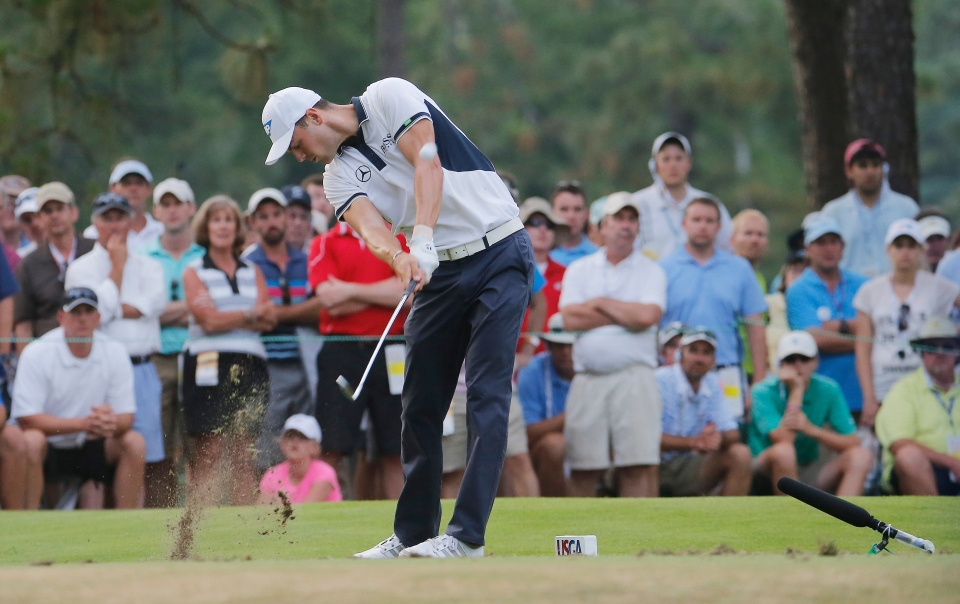 Martin Kaymer, of Germany, hits his tee shot on the 17th hole during the final round of the U.S. Open golf tournament in Pinehurst, N.C., Sunday, June 15, 2014. (AP Photo/Matt York)