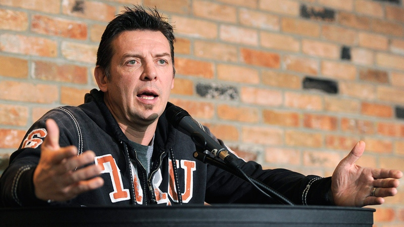 Former NHL player Theoren Fleury talks about the Graham James case during a press conference in Calgary, Alberta on Wednesday, Dec. 7, 2011.  (Larry MacDougal / THE CANADIAN PRESS)