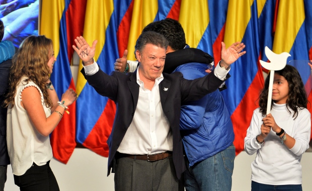 Santos re-elected Colombia's president