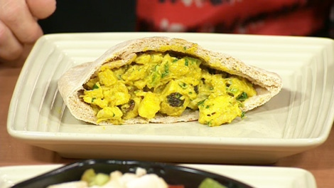 Leslie's curried chicken pita sandwich.