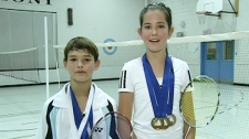Alex Bianchini and Alexandra Mocanu are two top badminton players (Dec. 7, 2011)