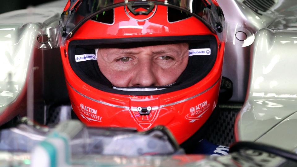 Michael Schumacher in his car at the Interlagos race track in Sao Paulo, Brazil, in 2012. (AP / Victor Caivano)