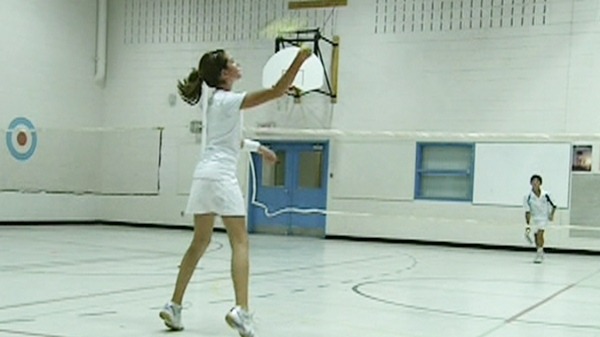 Alexandra and Alex play solo, and in mixed doubles badminton (Dec. 7, 2011)