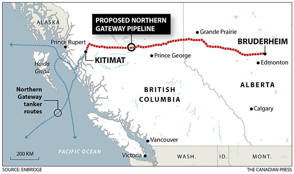 Proposed route of Enbridge Inc.'s Northern Gateway