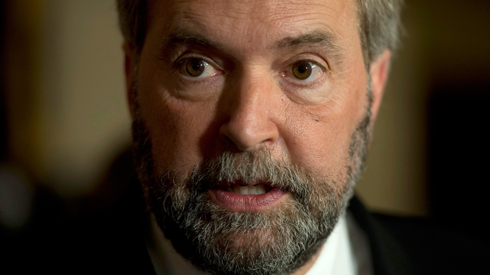 NDP leader Tom Mulcair respond to the government's decision to approve the Northern Gateway pipeline, in Ottawa, Tuesday, June 17, 2014. (Adrian Wyld / THE CANADIAN PRESS)