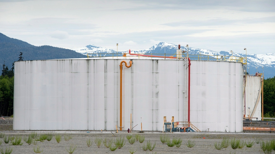 Giant tanks are pictured at the LNG Canada facility in Kitimat, B.C., Tuesday, June, 17, 2014. (Jonathan Hayward / THE CANADIAN PRESS)