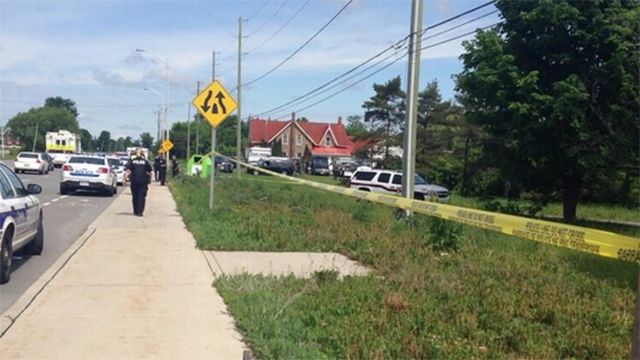 Police tape surrounds the scene of the site of a training exercise near Ottawa, Wednesday, June 18, 2014. (Kate Eggins / CTV Ottawa)