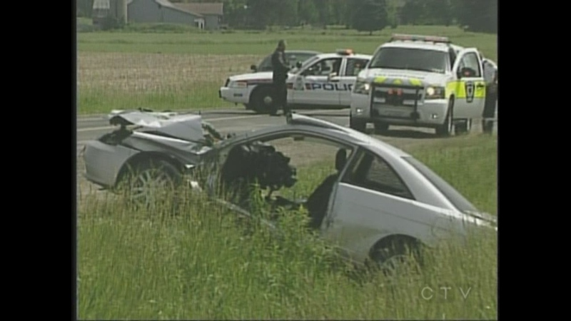 A man was airlifted to hospital following a two-vehicle crash near Lambeth in London, Ont. on Wednesday, June 18, 2014. (Wayne Jennings / CTV London)