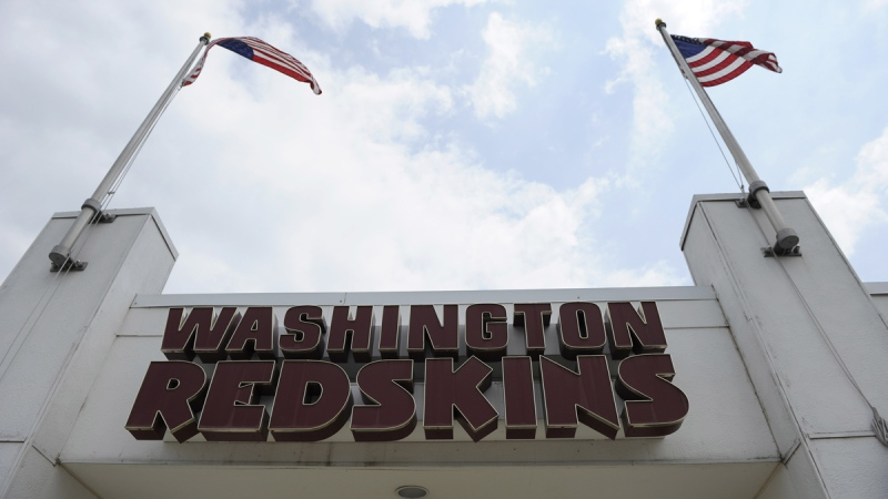 The Washington Redskins name is displayed on a building at their training facility at Redskins Park during NFL football minicamp, in Ashburn, Va., Wednesday, June 18, 2014. (AP / Nick Wass)
