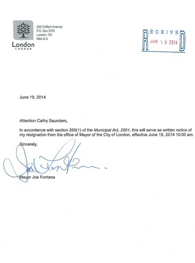 Joe Fontana Delivers Resignation WonT Return To Public Life  Ctv