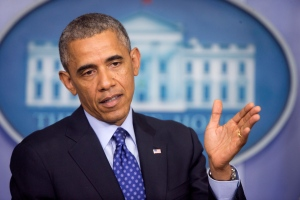 President Barack Obama speaks about the situation in Iraq on Thursday, June 19, 2014, in the Brady Press Briefing Room of the White House in Washington. (AP Photo/Pablo Martinez Monsivais)