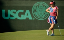 Lucy Li, 11, waits to put at U.S. Women's Open