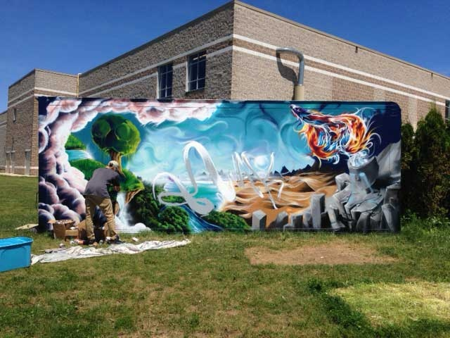 A student-produced mural is seen at Peninsula Shores District School in Wiarton, Ont. on Thursday, June 19, 2014. (Scott Miller / CTV London)