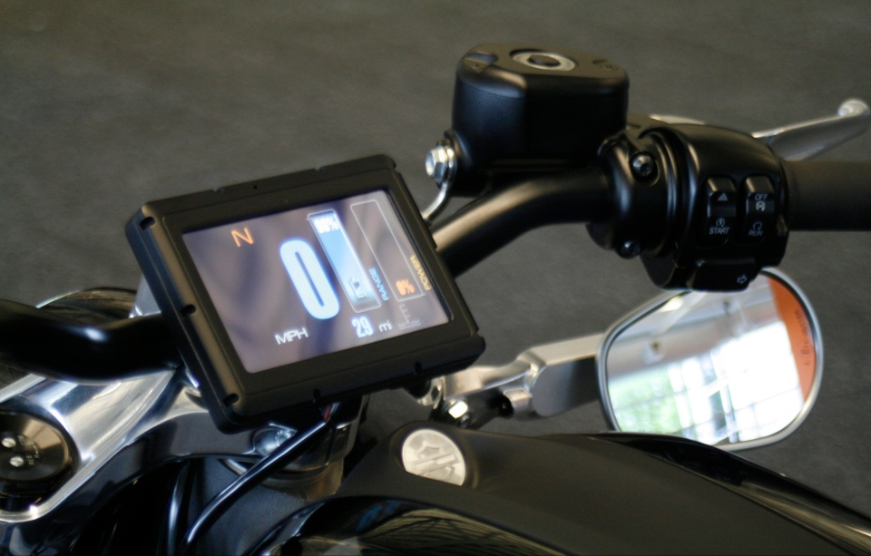 The control screen on Harley-Davidson's new electric motorcycle, at the company's research facility in Wauwatosa, Wis. (AP Photo/M.L. Johnson)