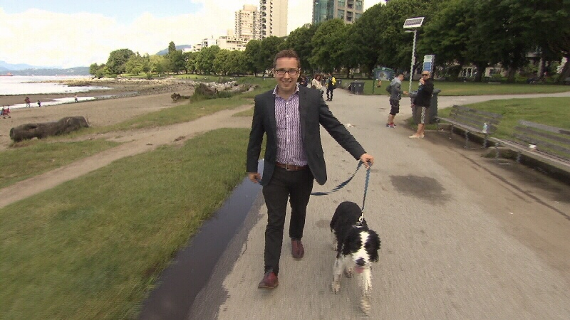 Part Time Pooch client Jordan Rogers walks with Bruce along the English Bay Seawall. (CTV)