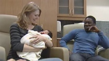 Sarah Heinrichs is the first woman to give birth at Winnipeg's new birthing centre on St. Mary's Road.