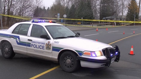 Abbotsford police investigate near Discovery Trail Park, where a blow to the head sent a 17-year-old boy to hospital in critical condition. Dec. 12, 2011. (CTV)