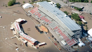 A flooded Calgary Stampede stadium is seen from a aerial view in Calgary, Ab. Saturday, June 22, 2013. (Jonathan Hayward / THE CANADIAN PRESS)