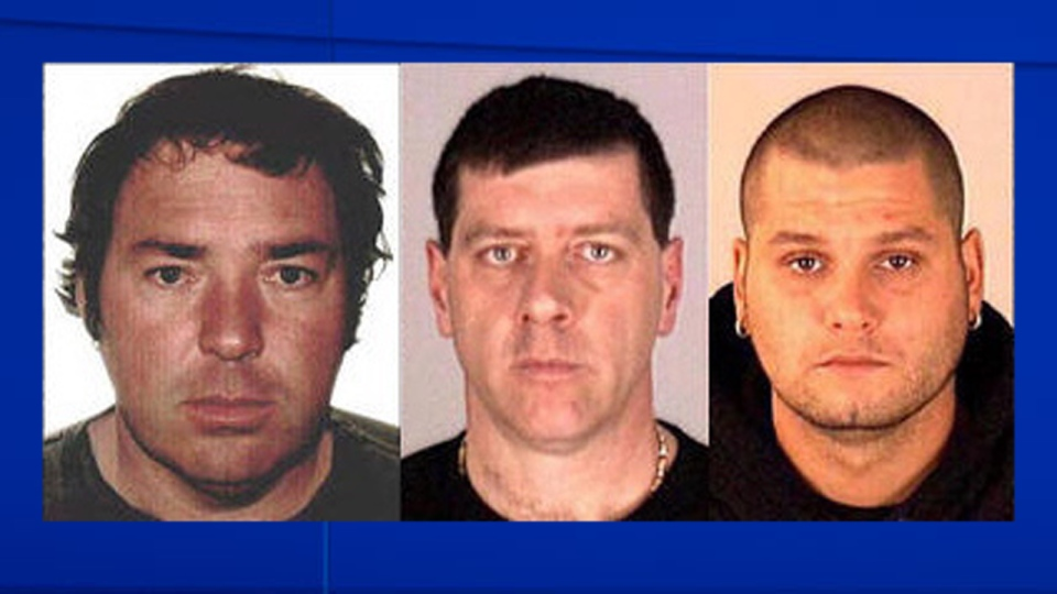 Escaped Quebec inmates (left to right) Serge Pomerleau, Denis Lefebvre and Yves Denis are shown in Interpol handout photos.  (HO-Interpol / THE CANADIAN PRESS)