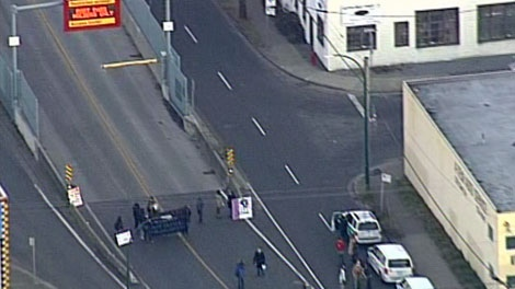 Occupy Vancouver protesters block the entrance to Port Metro Vancouver on Monday, Dec. 12, 2011. (CTV)