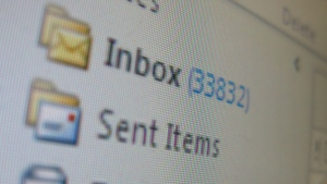 A full computer e-mail program inbox is shown in this 2014 file photo. (THE CANADIAN PRESS)