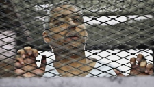 Mohammed Fahmy in a defendant's cage, May 2014