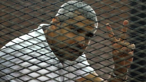 Mohamed Fahmy in the defendant's cage