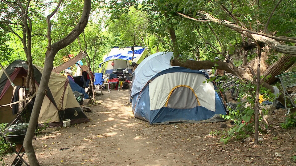 Dozens of homeless people in Gatineau have set up a tent city in the heart of downtown.