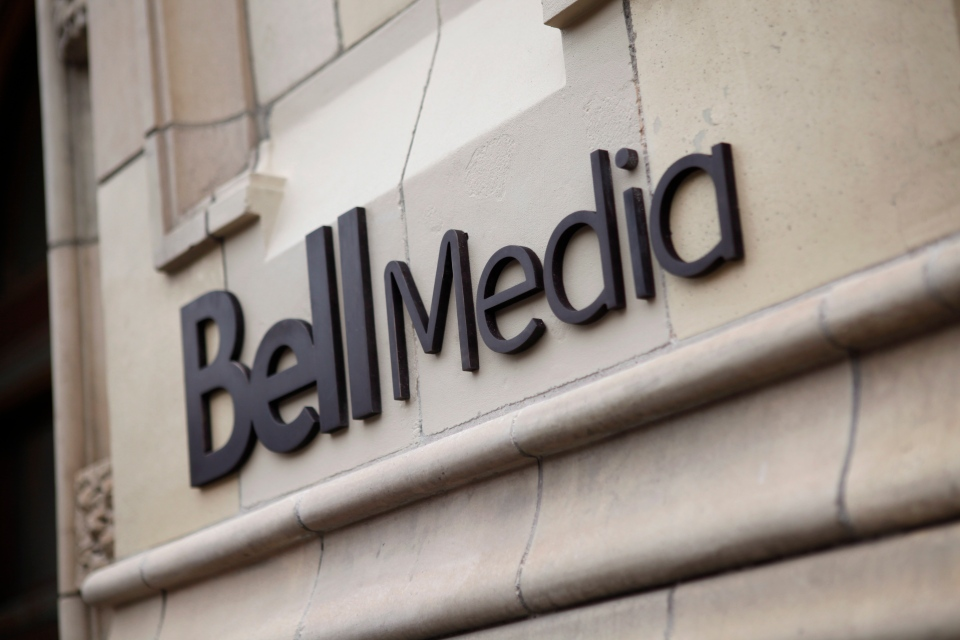 The Bell Media logo is displayed on a building in Toronto in this handout photo. (Bell Media / Darren Goldstein)