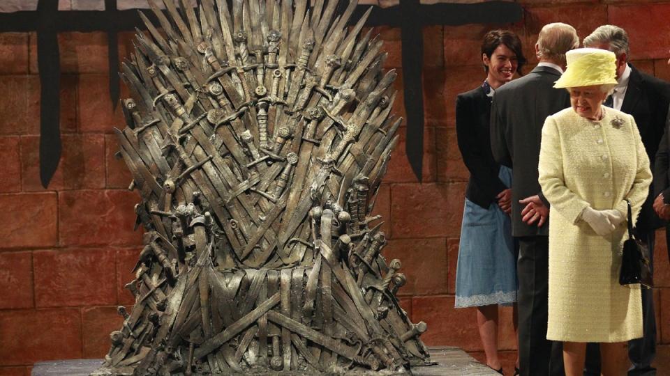 Queen Elizabeth II visits the throne room on the set of the Game of Thrones TV series in Belfast Northern Ireland, on June, 24, 2014. (AP / Peter Morrison)