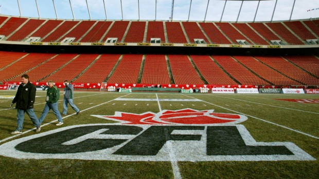 CFL logo at centrefield at Commonwealth Stadium in Edmonton. (CP / Kevin Frayer)