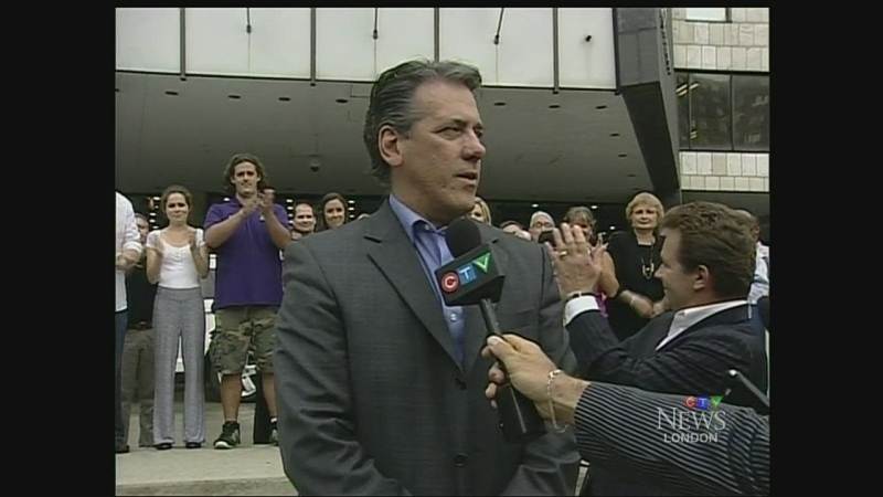 Former city councillor Roger Caranci announces he will make a bid for the position of mayor in London, Ont. on Tuesday, June 24, 2014.