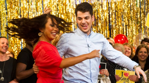 Rob Kardashian and Cheryl Burke, finalists from 'Dancing with the Stars,' dance in New York, Wednesday, Nov. 23, 2011. (AP / Charles Sykes)