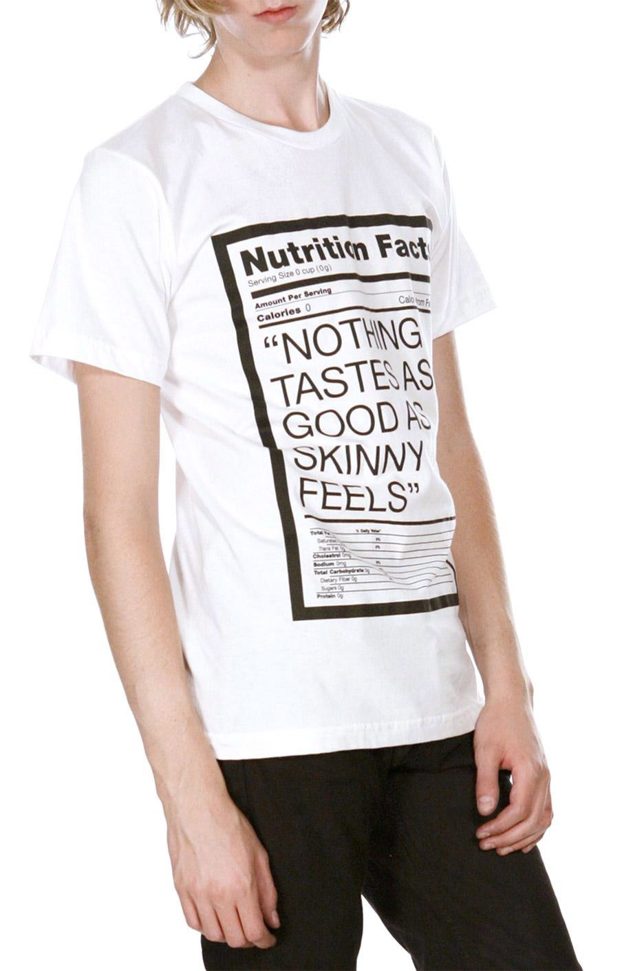 A model wears the 'Nothing Tastes As Good As Skinny Feels' T-shirt created by Canadian-born designer Christopher Lee Sauve in this undated handout image. (THE CANADIAN PRESS/HO-Christopher Lee Sauve)