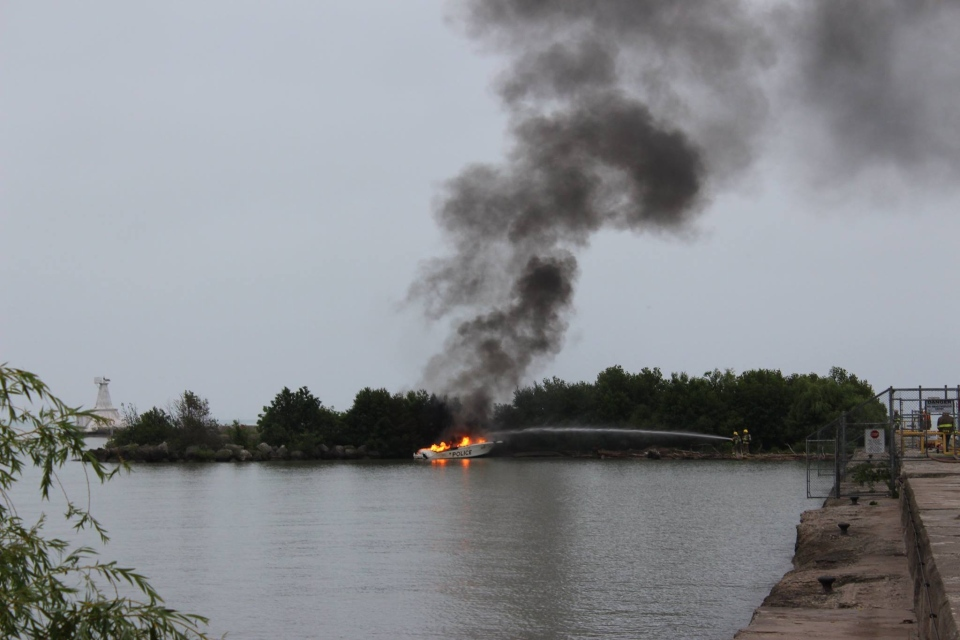 A stolen Elgin OPP police boat was set on fire off the coast of Port Stanley, Ont. early Wednesday, June 25, 2014. (Katey Berzins/ Facebook)