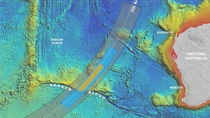 In this map details are presented in the search for the missing Malaysia Airlines Flight 370 in the southern Indian Ocean, on Thursday, June 26, 2014.  (Joint Agency Coordination Centre)
