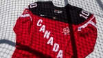 A commemorative jersey is pictured at Hockey Canada's news conference in Toronto on Thursday, June 26, 2014 to launch their 100th anniversary celebration plans. THE CANADIAN PRESS/Chris Young