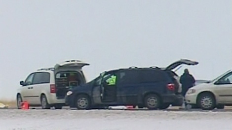Alberta RCMP are investigating a possible murder scene along a highway in Claresholm, Alta., Thursday, Dec. 15, 2011.