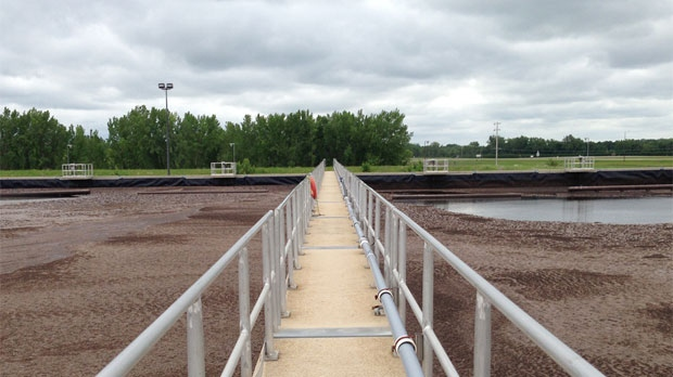 Waste water is shown at the Portage la Prairie water treatment plant.