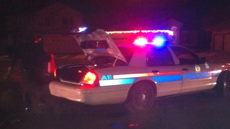A police car stationed in the Lewis Estates neighbourhood following a shooting on Wednesday, Dec. 14, 2011.