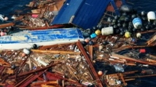 Russian sailors spotted a floating debris cluster including a Fukushima-marked fishing boat 2,700 kilometres east of Hawaii. Dec. 15, 2011. (CTV)
