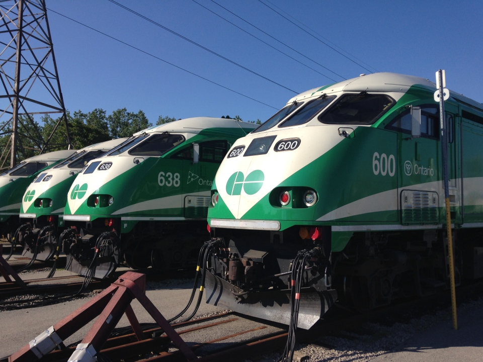 GO Trains are parked at the GO Transit Don Yard Facility on Friday, June 27, 2014. (George Stamou / CTV News)