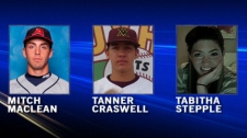 Mitch Maclean, Tanner Craswell and Tabitha Stepple were killed in a shooting on Highway 2 north of Claresholm, Alberta.